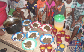 Children Excited to Recive a Hot Meal